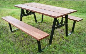 Picnic Table Brackets - Black -Pine Trees
