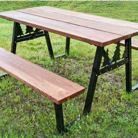 Picnic Table Brackets - Black -Pine Trees