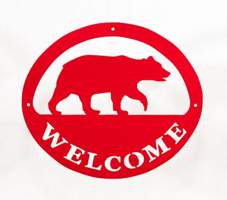 Welcome Signs Bear - Red