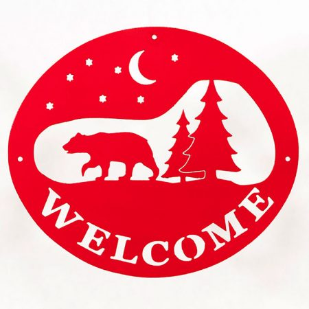 Welcome Signs Bear Tree - Red