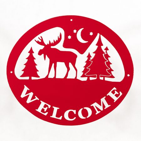 Welcome Signs Moose Tree - Red