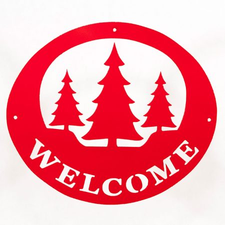Welcome Signs Pine Tree - Red