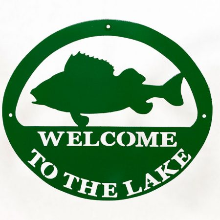 Welcome to Lake Sign - Green Fish