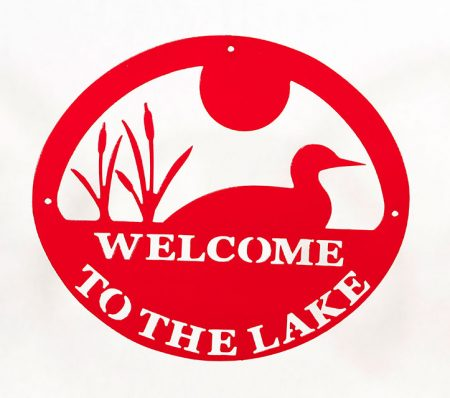 Welcome to Lake Sign - Red Loon