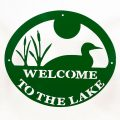 Welcome to Lake Sign - Green Loon