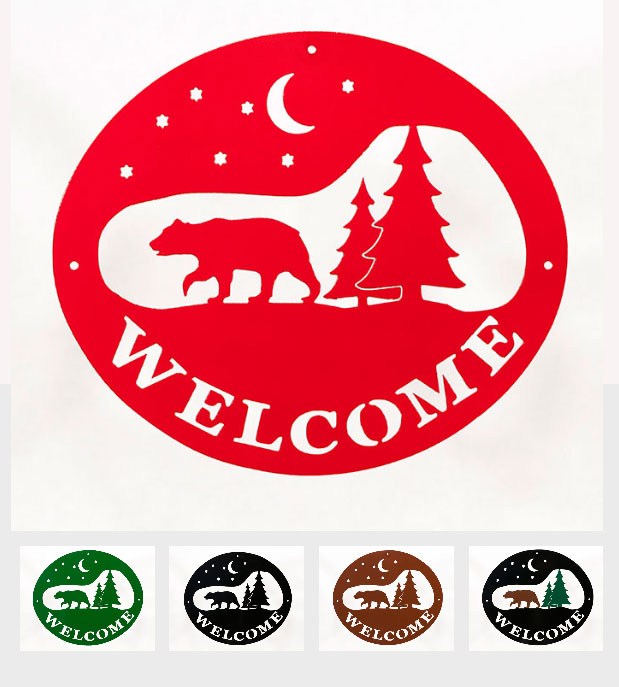 Welcome Signs - Bear Tree - Tri-Color