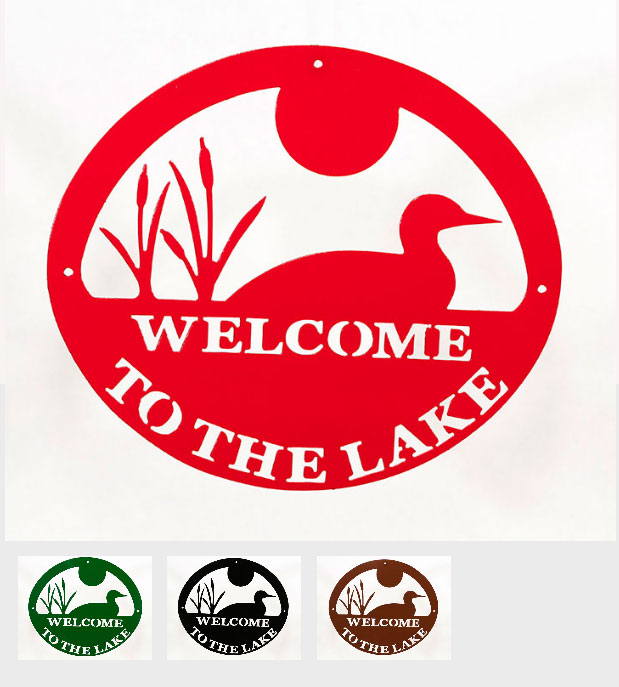 Welcome to Lake Sign - Loon - Tri-Color